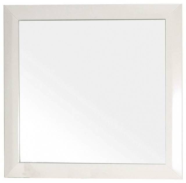 Square Solid Wood White Frame Mirror – Traditional – Wall Mirrors In Square Wall Mirrors (View 12 of 20)