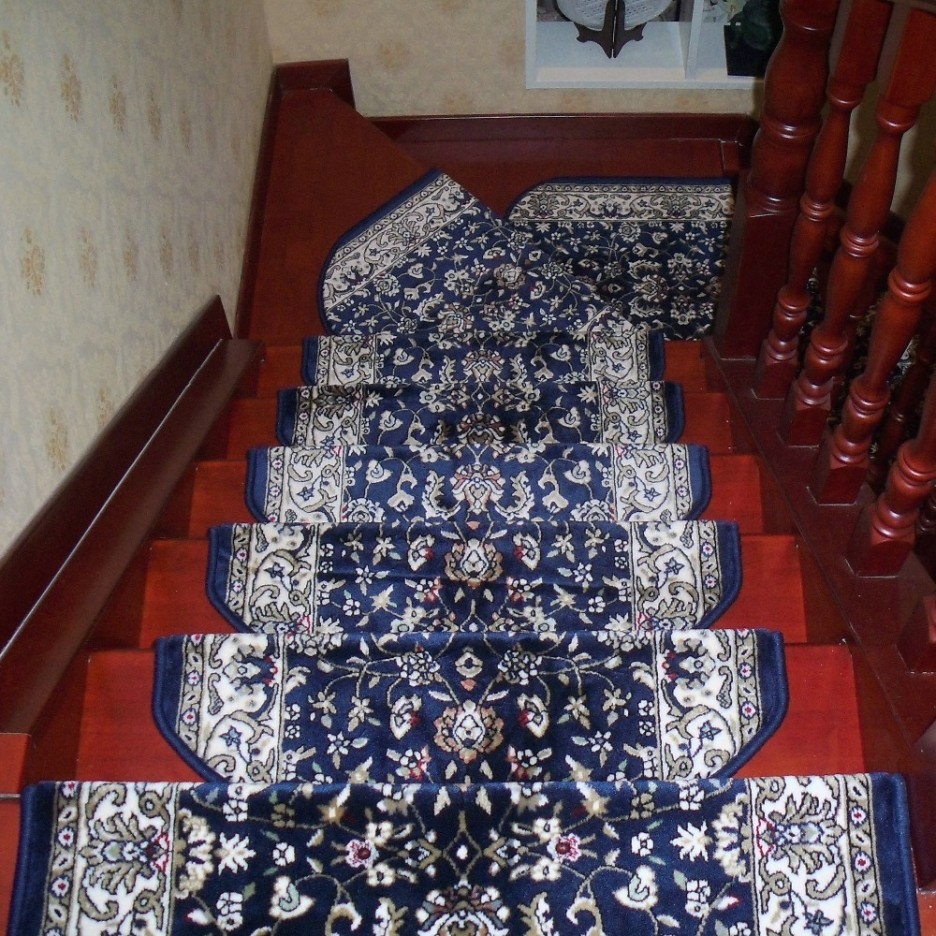 Stair Gorgeous Home Interior Design With Dark Red Brown Wooden Pertaining To Stair Tread Rug Pads (#18 of 20)