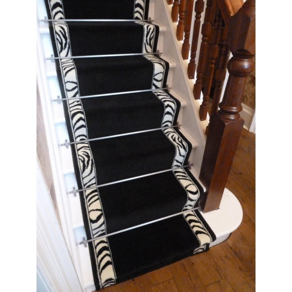 Stair Great Home Interior Design With Brown Printed Leopard Runner Pertaining To Black Runner Rugs For Hallway (#20 of 20)