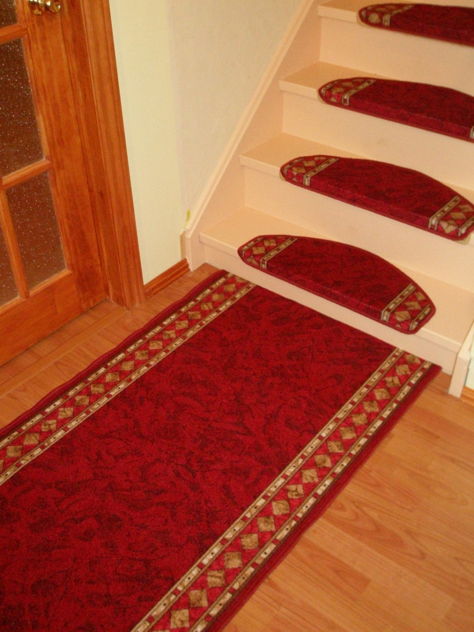 Stair Inspiring Oak Stair Design With Wooden Treads And Railing Within Washable Stair Tread Rugs (#13 of 20)