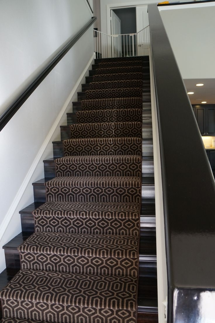 Stair Modern Stair Design With Straight Black Stair Using Black Within Brown Stair Treads (#16 of 20)