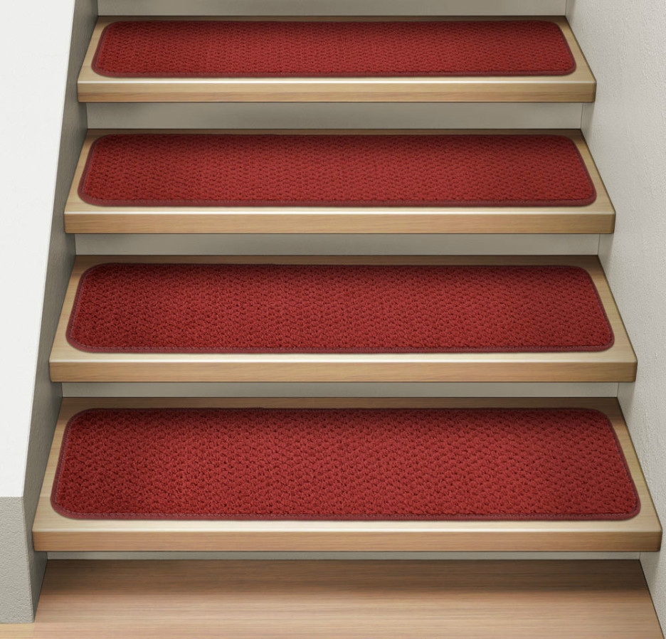 Stair Simple Modern Straight Stair Designed With Light Brown Tread With Modern Stair Tread Rugs (#16 of 20)