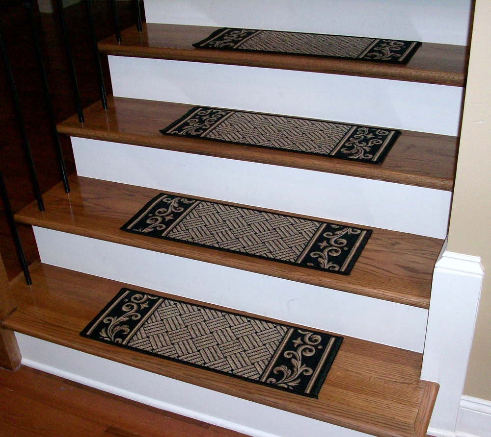 Stair Treads Black Beige Serged Carpet Runners Inside Stair Tread Carpet Runners (#20 of 20)