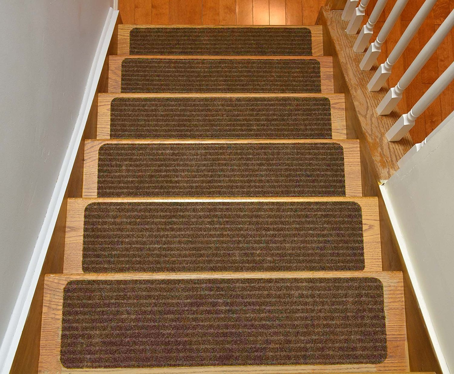Stair Treads Collection Set Of 13 Indoor Skid Slip Resistant Brown Throughout Brown Stair Treads (#20 of 20)