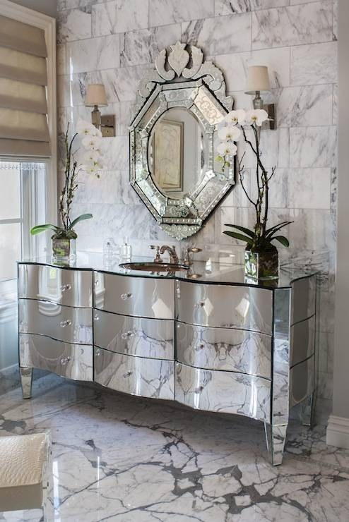Statuary Marble Countertop – Contemporary – Bathroom Throughout Venetian Floor Mirrors (#23 of 30)