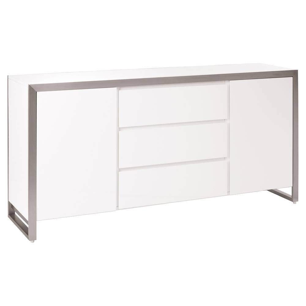 Steel Frame Gloss Sideboard White – Dwell With Sideboard White (#15 of 20)