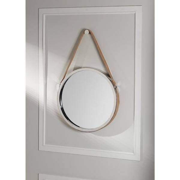 Stitched Brown Leather Mirror Pertaining To Leather Mirrors (#17 of 20)