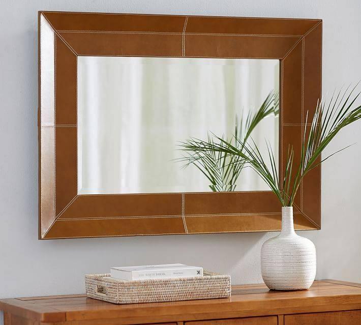 Stitched Leather Mirror | Pottery Barn Throughout Leather Mirrors (#18 of 20)