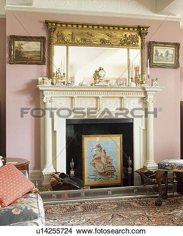 Stock Photo Of Ornate Gilt Mirror Above Neo Classical Fireplace For Ornate Gilt Mirrors (#26 of 30)