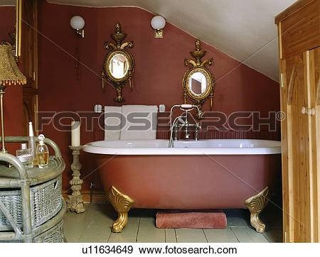 Stock Photograph Of Ornate Antique Gilt Mirrors Above Clawfoot Within Antique Gilt Mirrors (View 18 of 20)