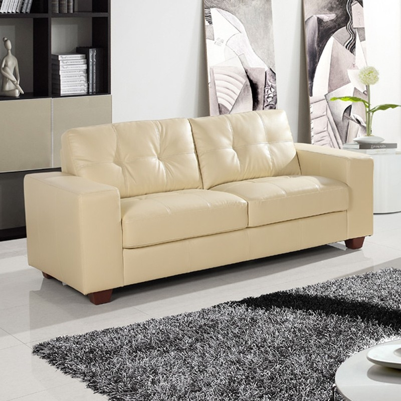 Strada Ivory Cream Leather Sofa Collection Pertaining To Ivory Leather Sofas (#15 of 15)