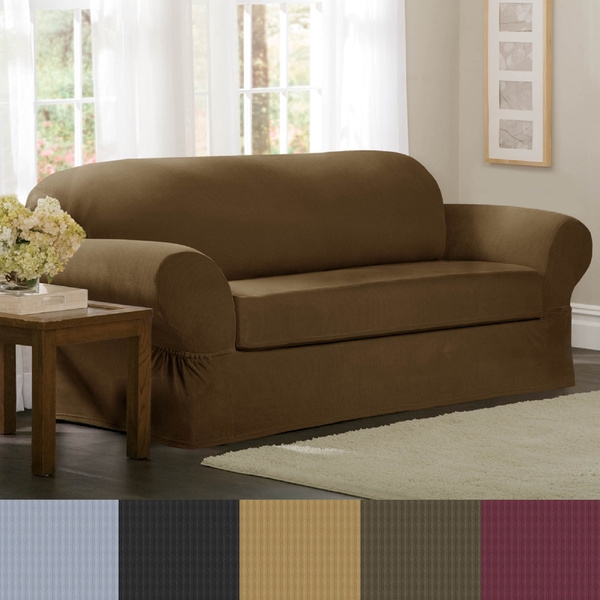 Stretch Sofa Slipcover 2 Piece Thesofa Intended For 2 Piece Sofa Covers (#13 of 15)