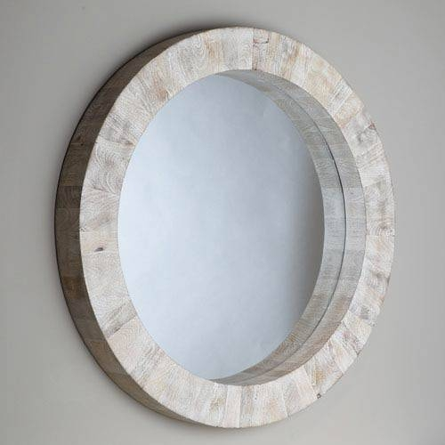 Studio A Driftwood Round Mirror Global Views Wall Mirror Mirrors Intended For Blue Round Mirrors (View 21 of 30)