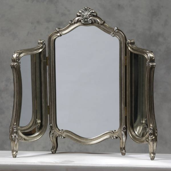 Stunning Antique Silver French 3 Fold Regal Dressing Table Mirror With Silver Dressing Table Mirrors (#19 of 20)