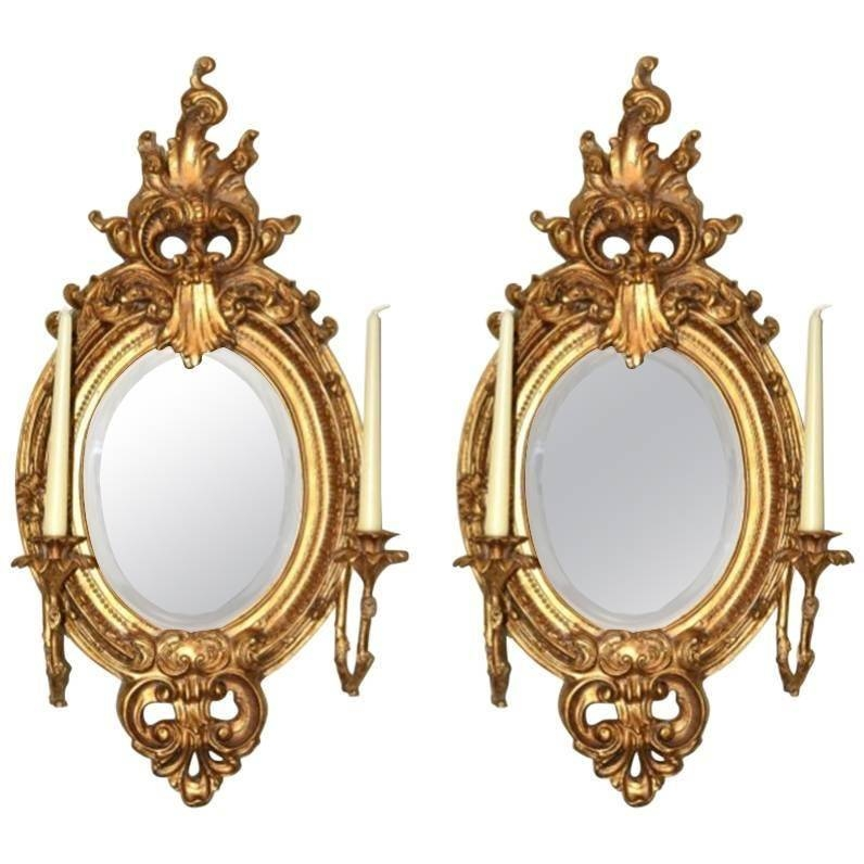 Stunning Pair Of Ornate Oval Italian Gilded Mirrors For Sale At Regarding Gilded Mirrors (#20 of 20)