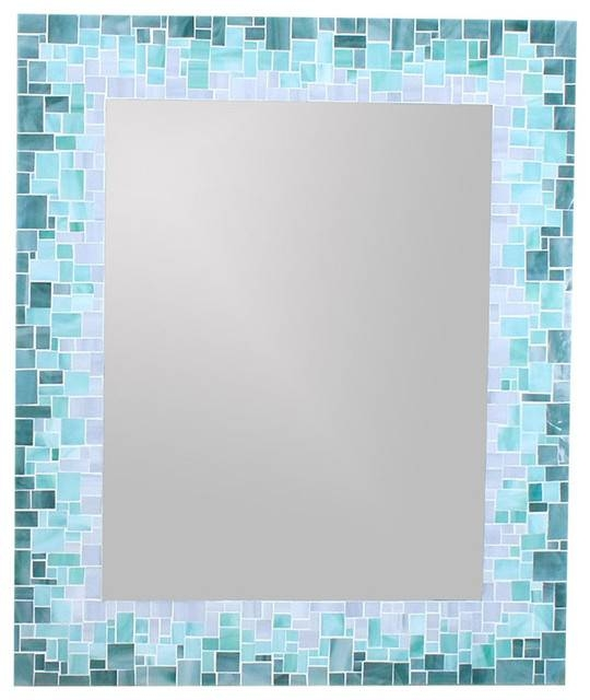 Sunburst Mirror In Glass Mosaic Tiles Of Blue, Green And Grey Within Mirrors With Blue Frame (View 10 of 20)
