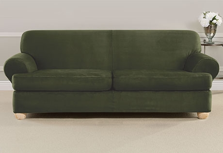 Sure Fit Ultimate Heavyweight Stretch Suede Individual 2 Piece T Regarding 2 Piece Sofa Covers (#15 of 15)