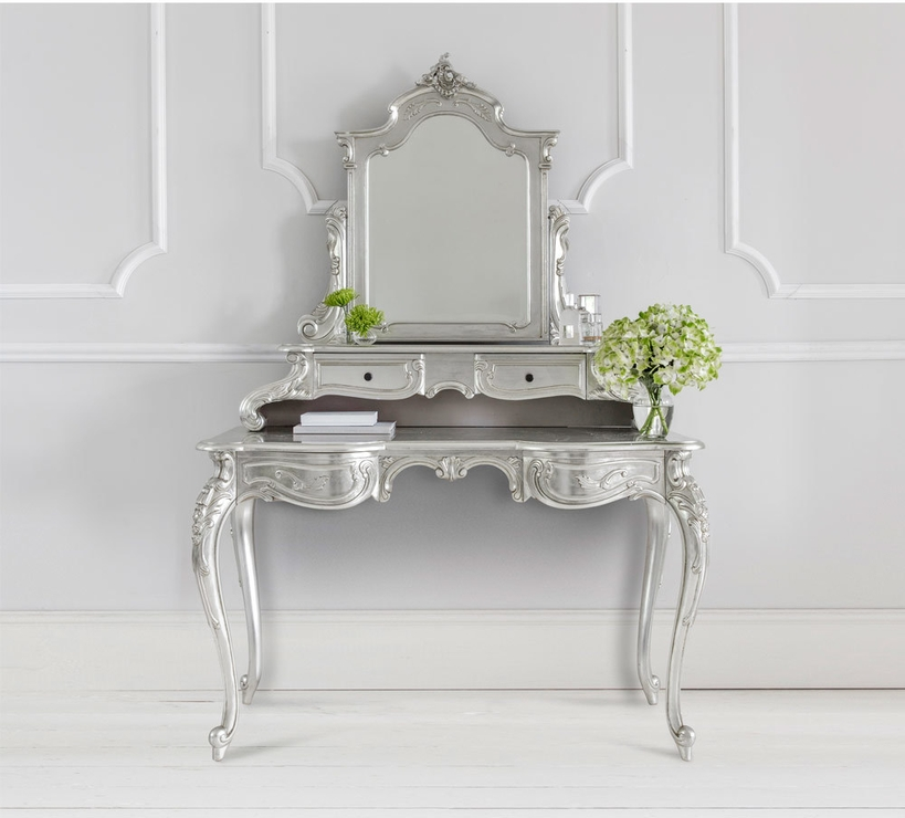 Sylvia French Silver Dressing Table Hand Carved With Bevelled For Silver Dressing Table Mirrors (#20 of 20)