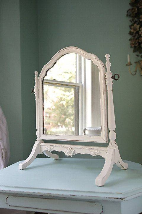 Table Top Mirror Shabby Chic White Distressed Antique Standing With Regard To Standing Table Mirrors (#30 of 30)