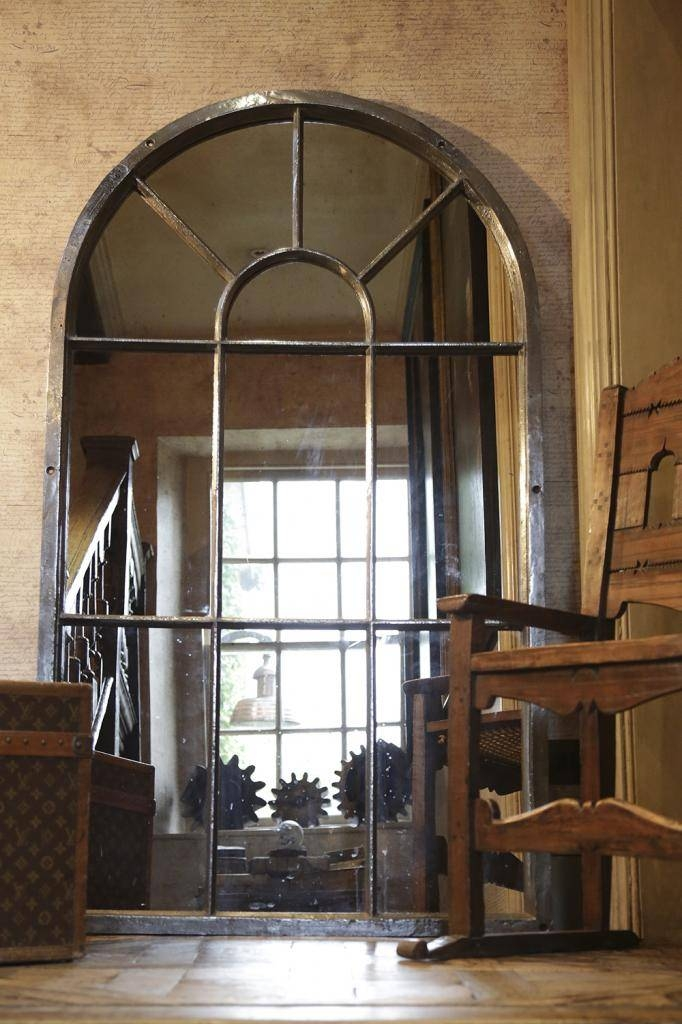 Tall Arch Cast Iron Window Frame Mirror Tall Arch Metal Window Pertaining To Window Arch Mirrors (View 18 of 20)
