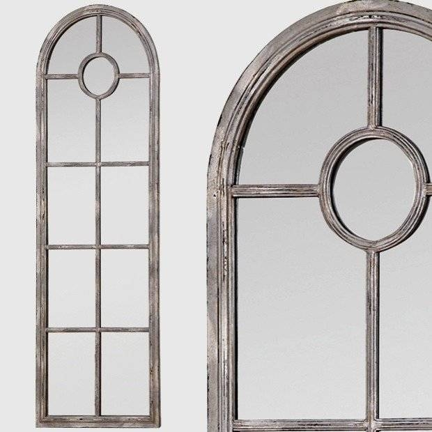 Tall Framed Arched Window Mirror   Antique Farmhouse Within Arched Window Mirrors (View 13 of 20)