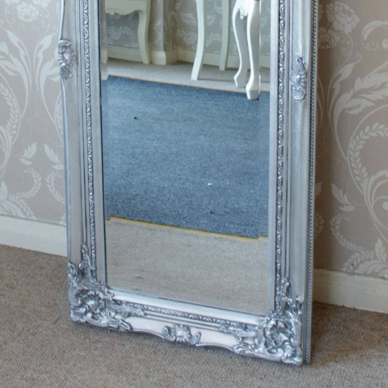 Tall Slim Silver Wall Mirror Shabby Vintage Chic French Ornate Throughout Long Silver Wall Mirrors (#14 of 15)