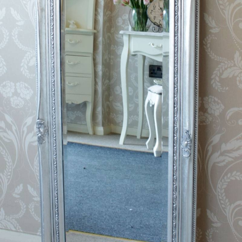 Tall Slim Silver Wall Mirror Shabby Vintage Chic French Ornate With Regard To Tall Silver Mirrors (#18 of 20)