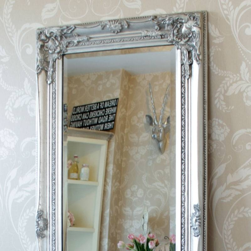 Tall Slim Silver Wall Mirror Shabby Vintage Chic French Ornate With Regard To Vintage Silver Mirrors (View 20 of 20)