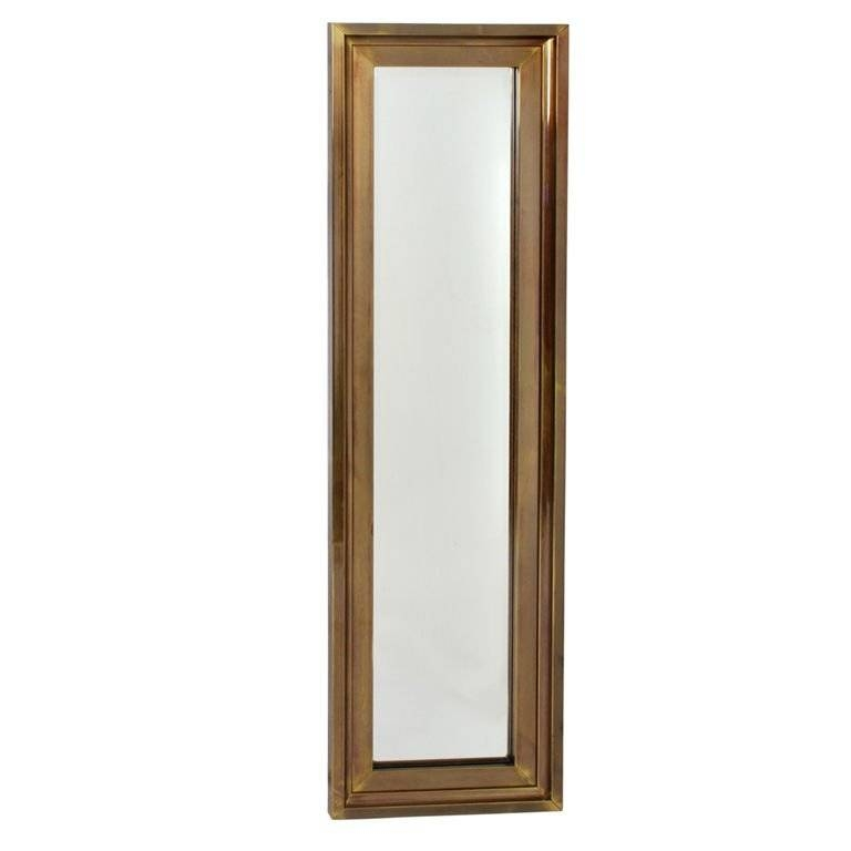 Tall Thin Brass Frame Entry Mirrormastercraft For Sale At 1stdibs In Tall Narrow Mirrors (View 7 of 30)