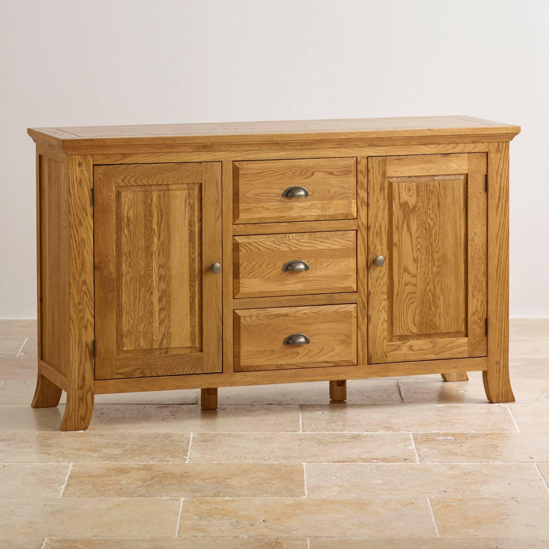 Taunton Large Sideboard In Rustic Solid Oak | Oak Furniture Land Within Oak Sideboards (#17 of 20)