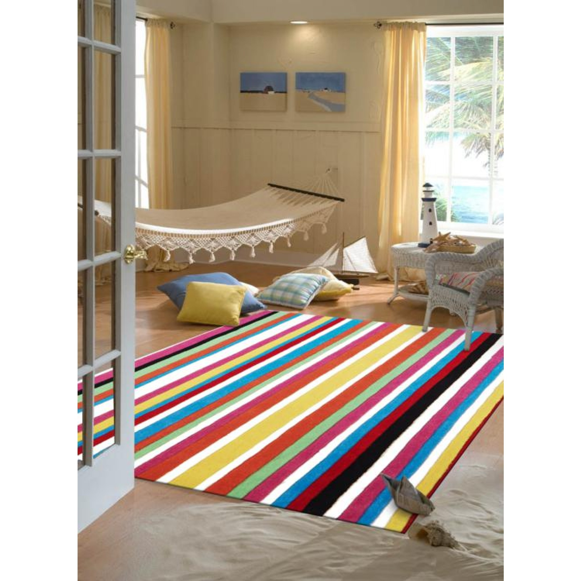 Teen Multi Coloured Stripe Kids Floor Rugs Free Shipping Intended For Striped Hallway Runners (#19 of 20)