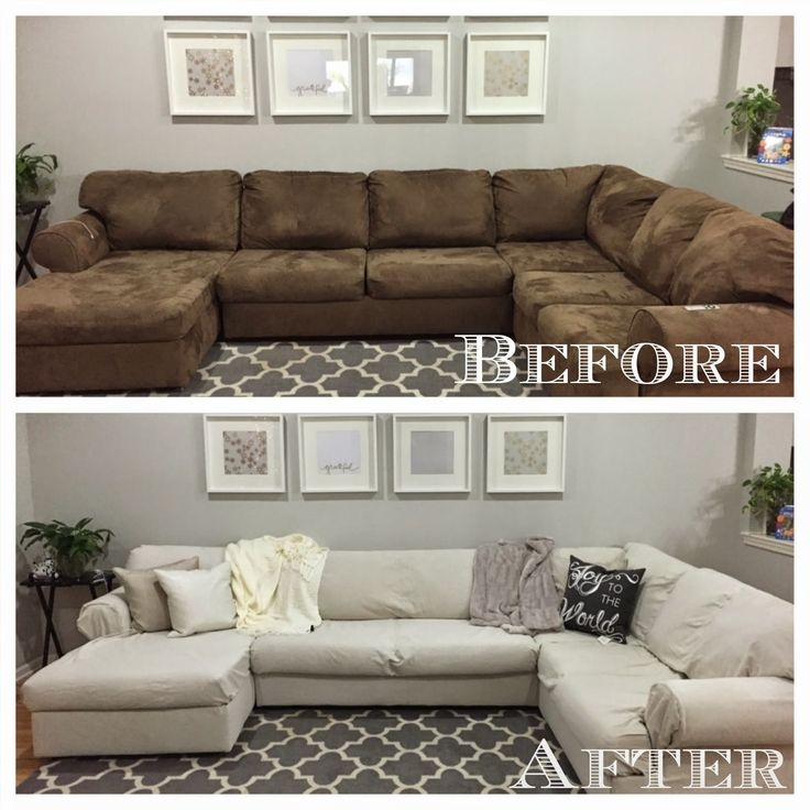 The 25 Best Sectional Couch Cover Ideas On Pinterest Diy Living Intended For Slipcover For Leather Sectional Sofas (#15 of 15)