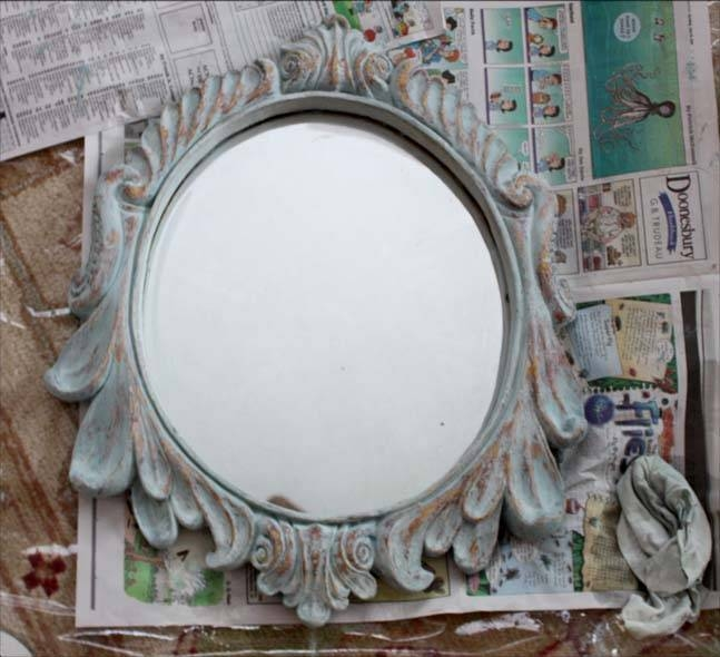 The Decorated House: ~ How To Create A Beautiful Antique Look With Intended For Blue Distressed Mirrors (#29 of 30)
