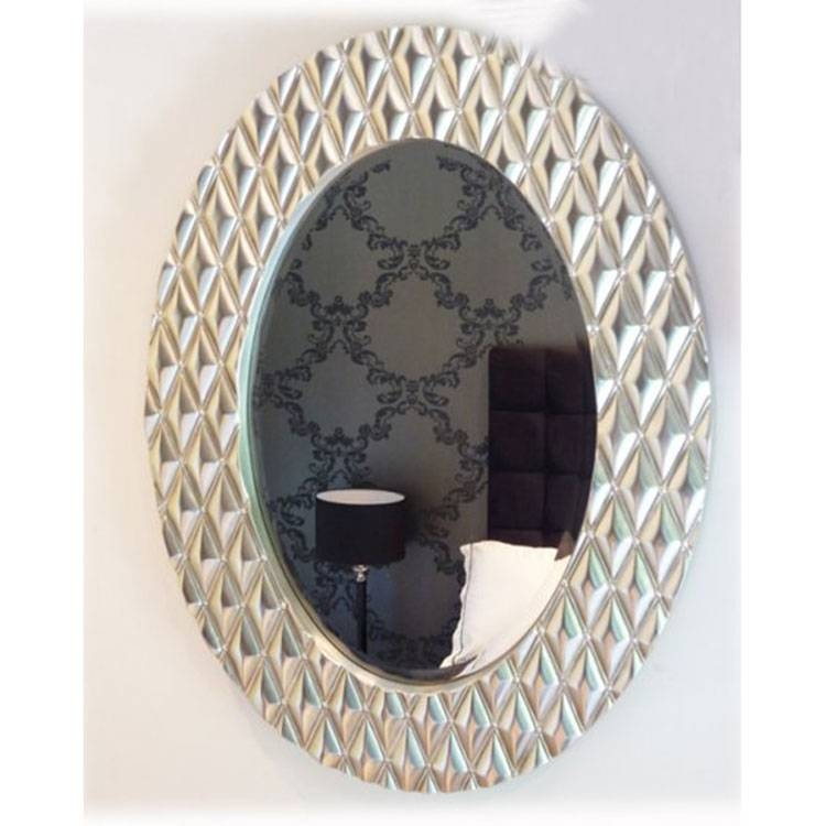 The 'fame' Oval Mirror In Silver 101 X 78 Cm Oval Mirror Silver Intended For Silver Oval Mirrors (#19 of 20)