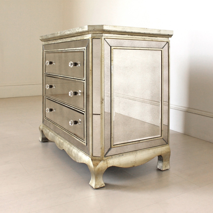 Three Drawer Venetian Chest Antique Glass | Bedroom Chests Of Drawers Pertaining To Venetian Mirrored Chest Of Drawers (View 9 of 20)