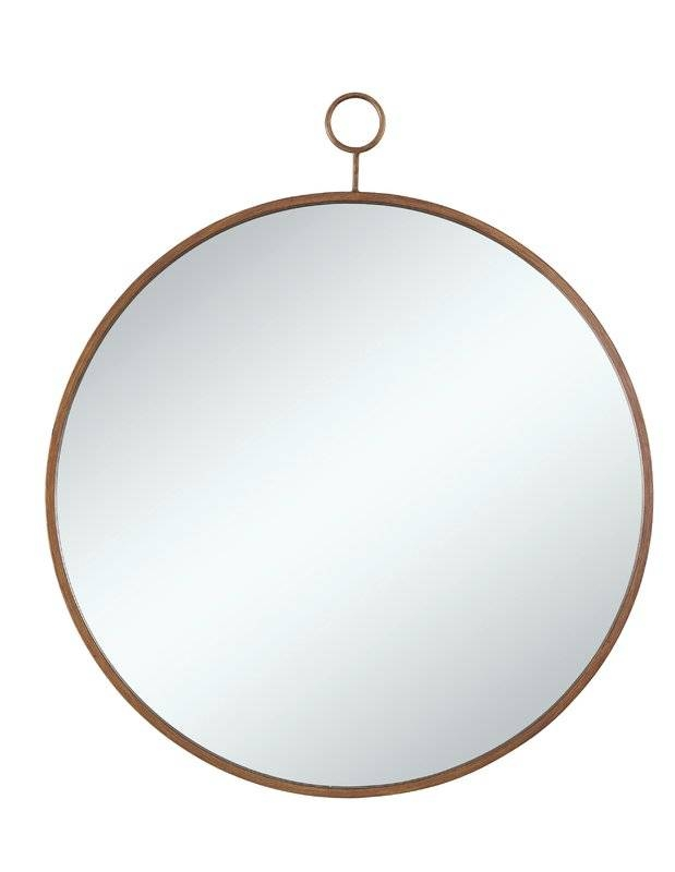 Three Posts Round Gold Wall Mirror & Reviews | Wayfair Regarding Gold Wall Mirrors (#27 of 30)