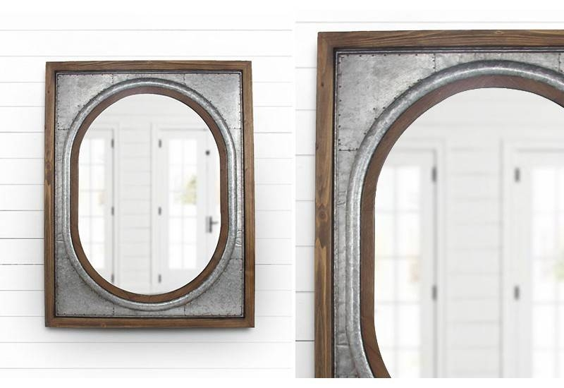 Tin Framed Wall Mirror, Metal Wall Mirror, Oval Wall Mirror, Tin Regarding Iron Framed Mirrors (#18 of 20)