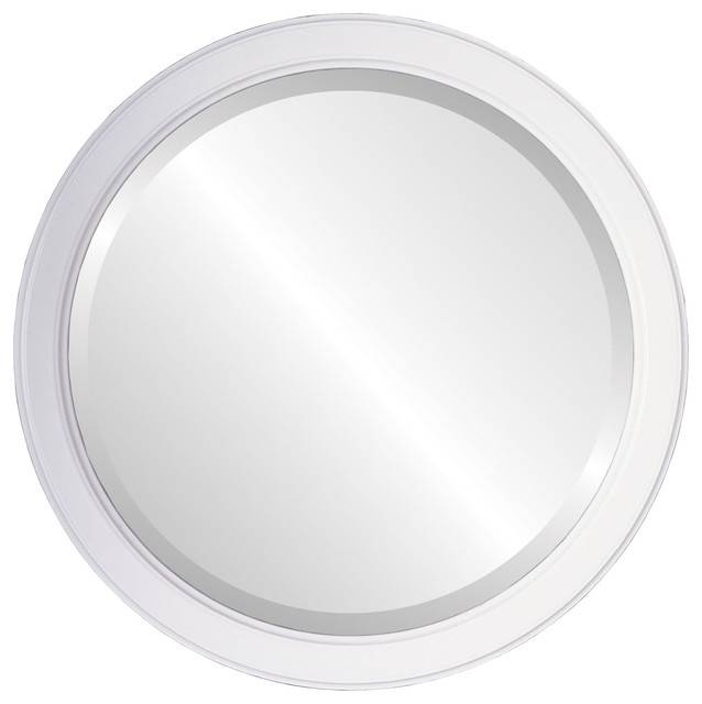 Toronto Framed Round Mirror In Linen White – Transitional – Wall Intended For White Oval Wall Mirrors (#27 of 30)