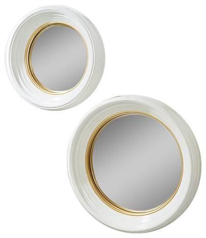 Tozai White Lacquer Round Convex Mirrors, 2 Piece Set Inside White Convex Mirrors (#28 of 30)