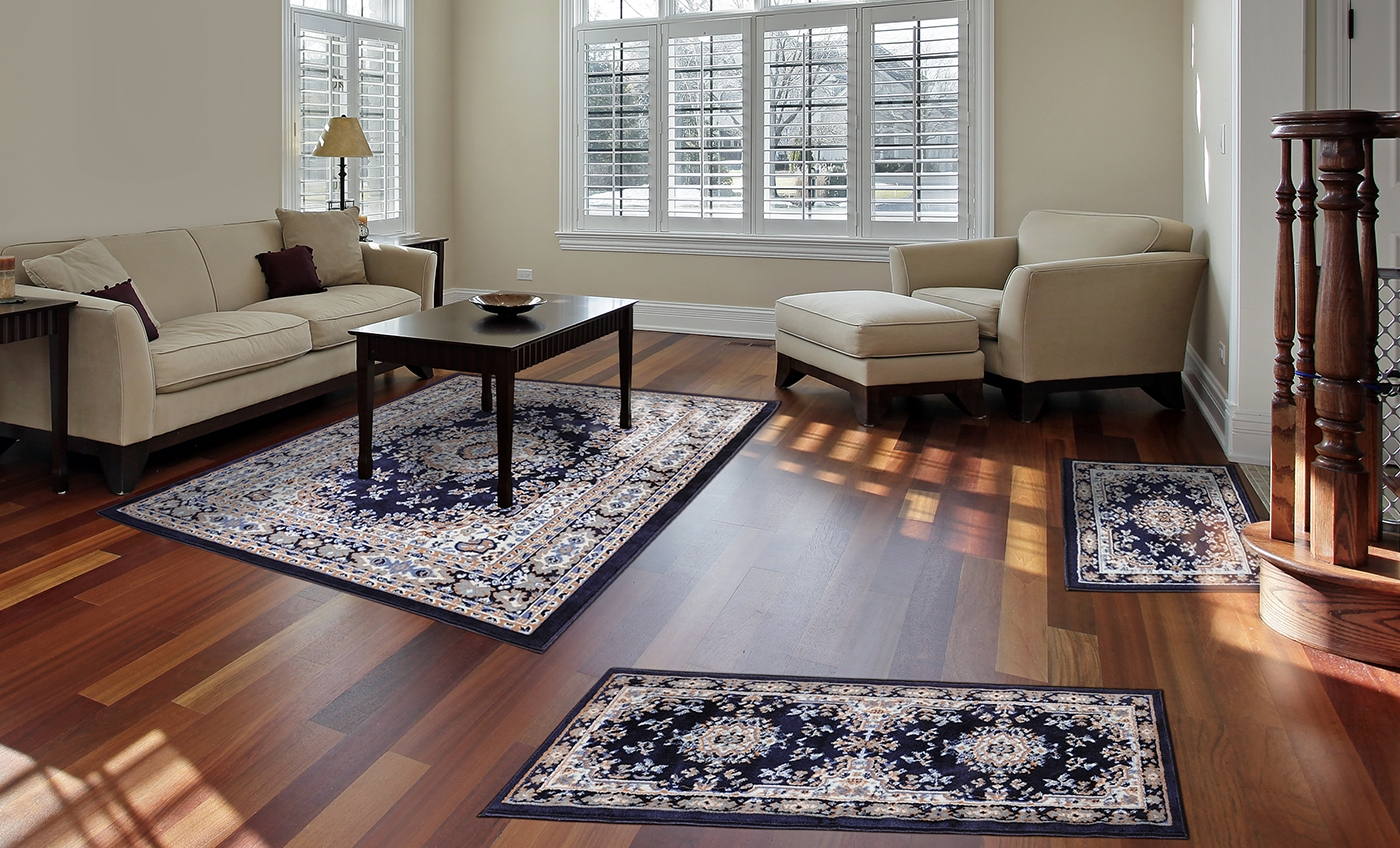 Traditional Medallion Persian 3 Pcs Area Rug Oriental Bordered Within Runner Rugs For Hallway (#20 of 20)
