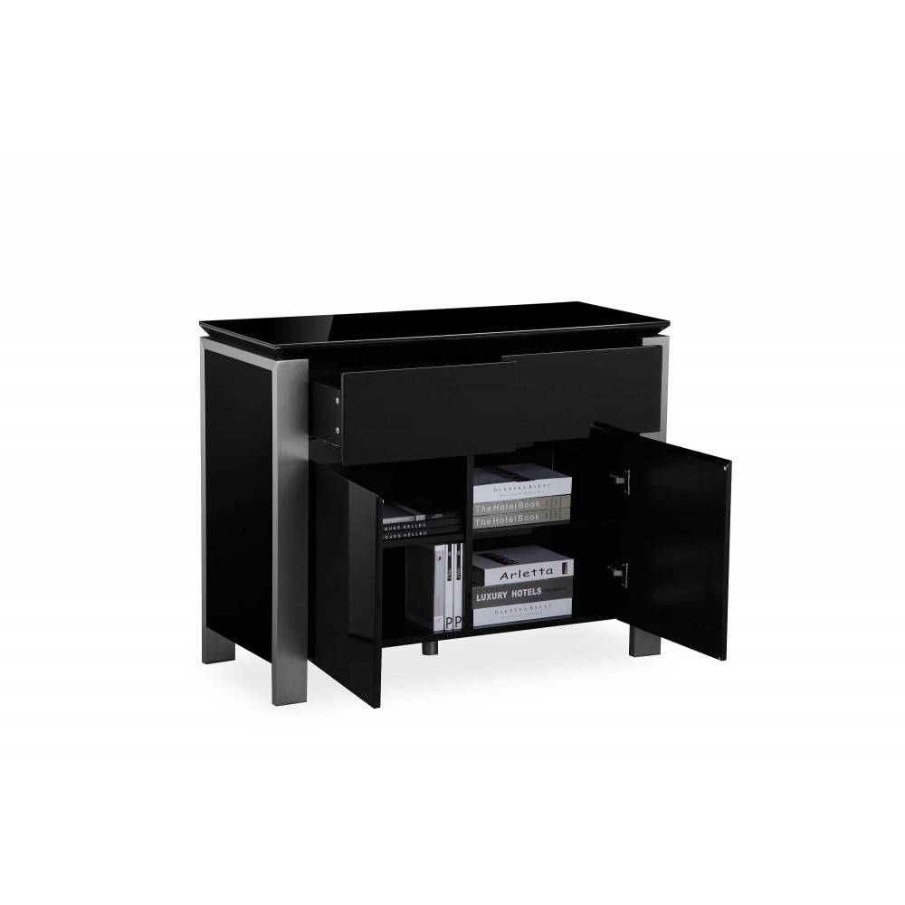 Tribeca Black High Gloss Sideboard Brushed Steel Trim Regarding Black High Gloss Sideboards (#20 of 20)