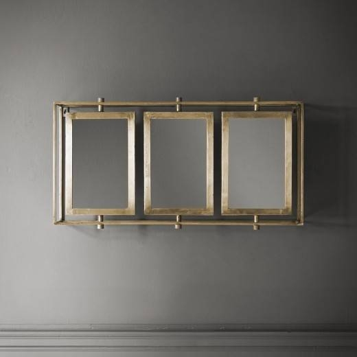 Tribeca Triple Wall Mirror – Antique Brass Within Triple Wall Mirrors (#19 of 30)