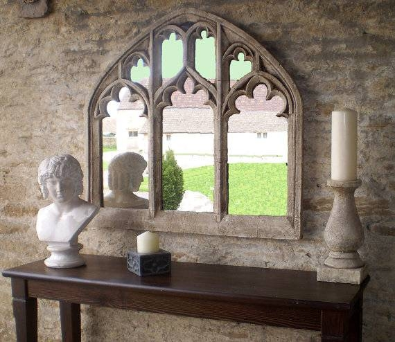 Triple Arch Over Mantel Church Window Mirror In Antique With Triple Mirrors (#22 of 30)
