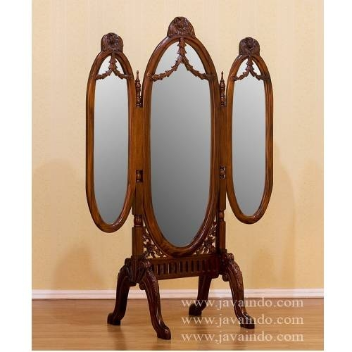 Triple Standing Mirror | French Mirror | Mahogany Furniture Throughout Antique Triple Mirrors (#15 of 20)