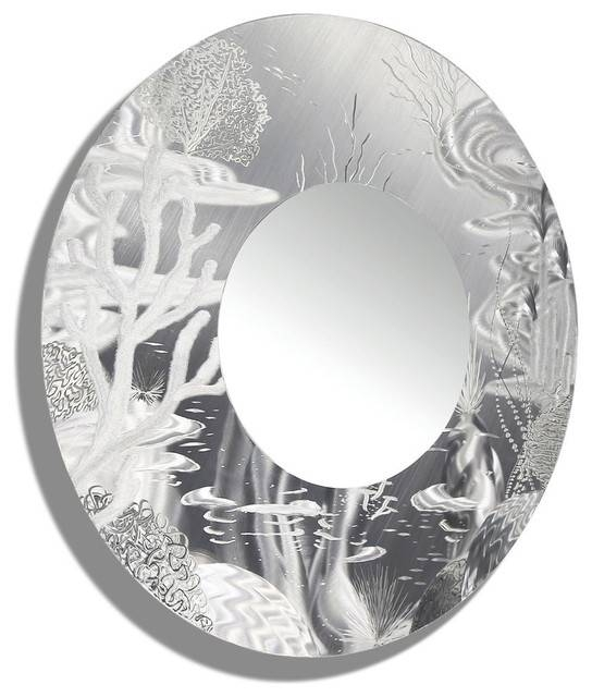 Tropical, Nautical Silver Wall Mirror – Large Round Mirror, Metal For Large Round Metal Mirrors (View 30 of 30)