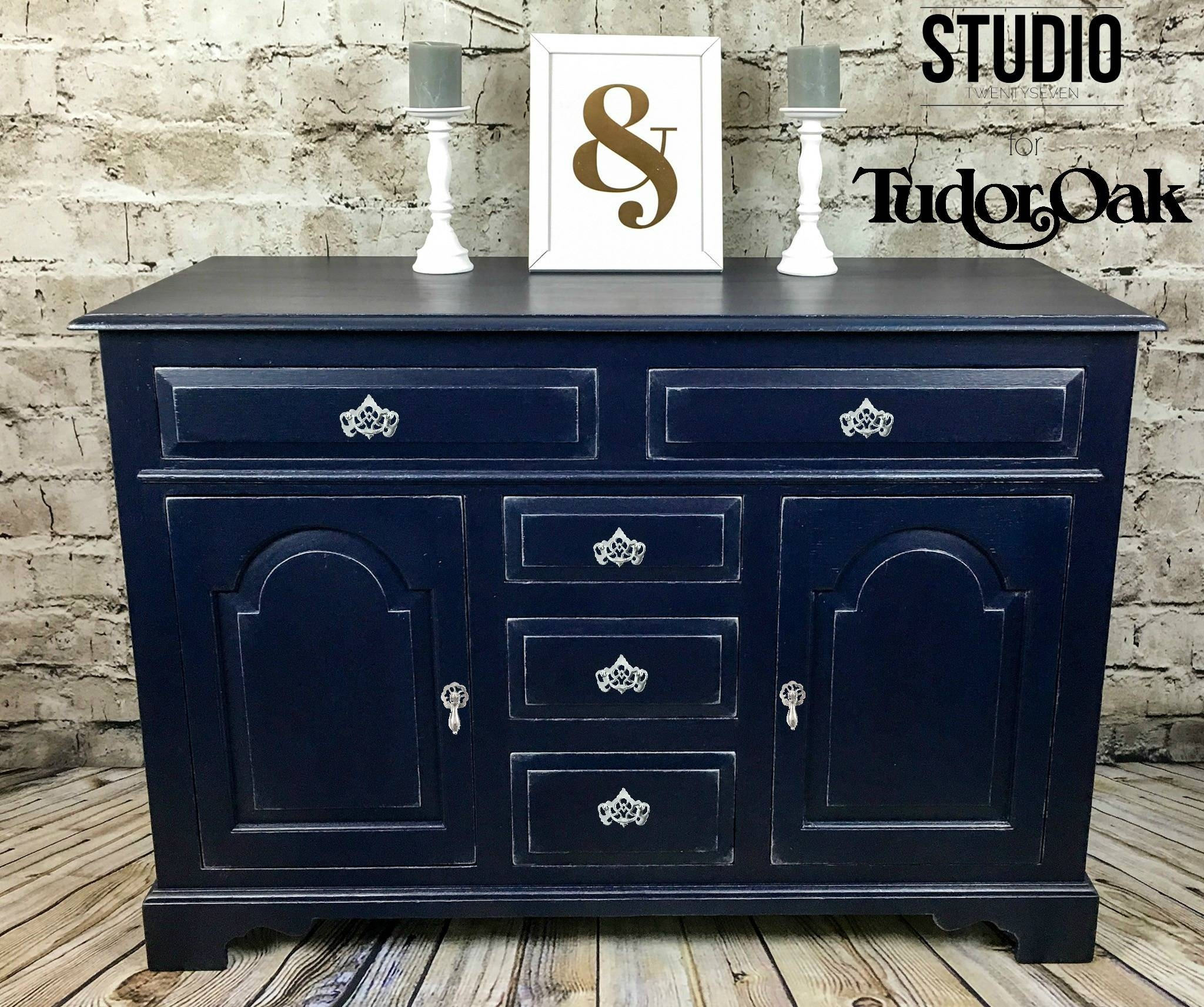 Tudor Oak Navy Purple And Silver Sideboard – Studio27 With Regard To Purple Sideboard (#18 of 20)