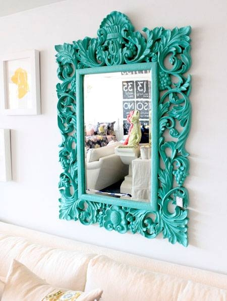 Turquoise Room: 12 Ideas For Inspiration Regarding Bright Coloured Mirrors (#20 of 20)