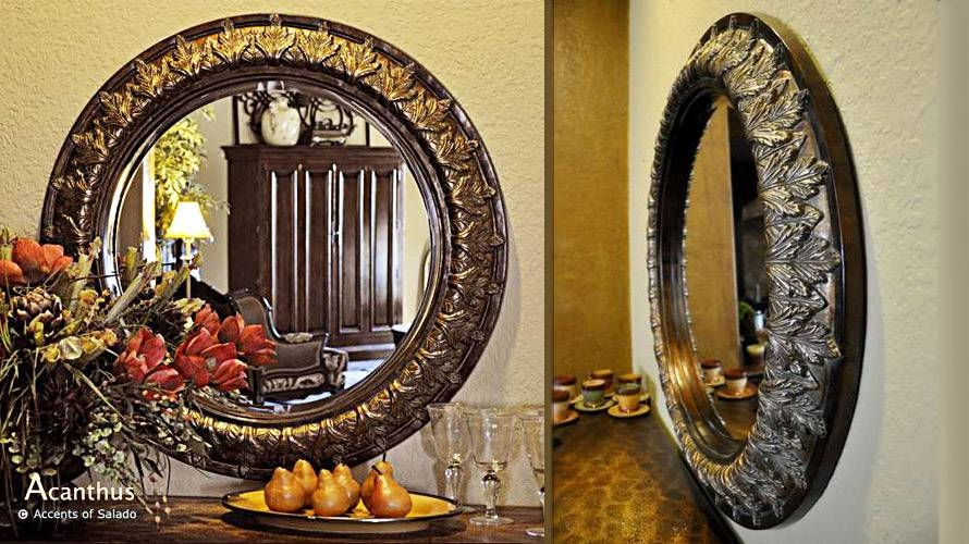 Tuscan Old World Style Mirrors Acanthus Round Beveled Mirror Throughout Old Style Mirrors (#26 of 30)