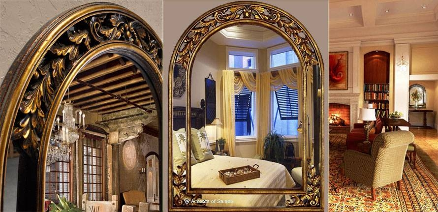 Tuscan Old World Style Mirrors Gold Arch Mirror For Large Old Mirrors (View 30 of 30)