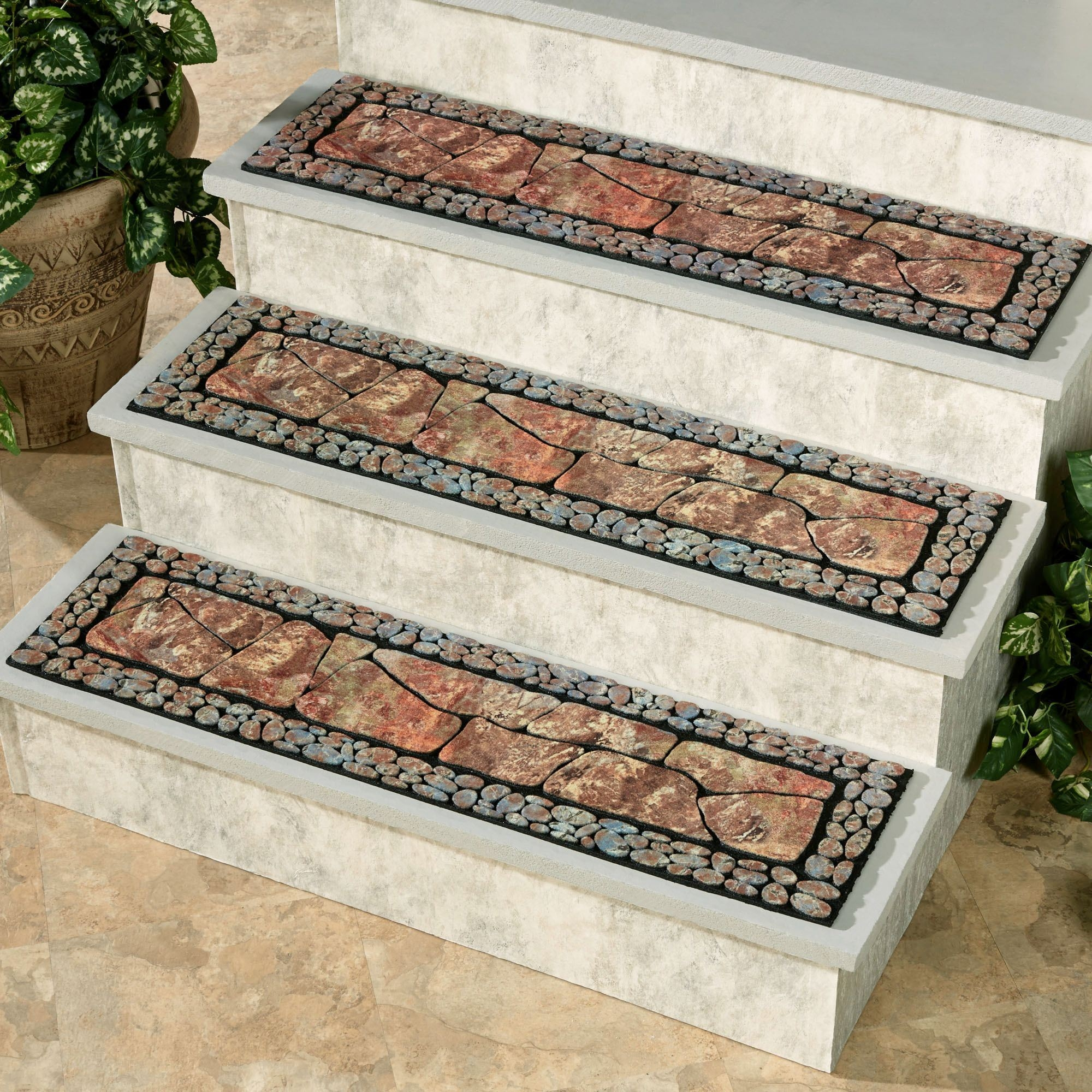 Tuscany Ii Moss Outdoor Stair Treads Pertaining To Rectangular Stair Treads (#20 of 20)